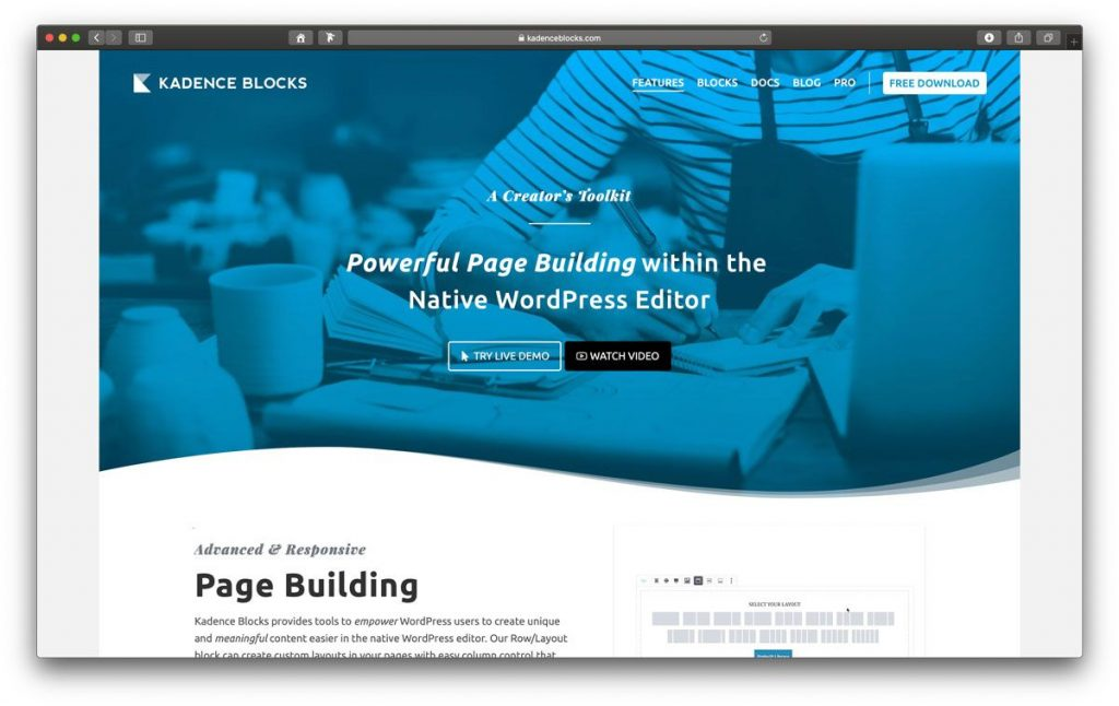 Kadence Blocks Pagebuilder