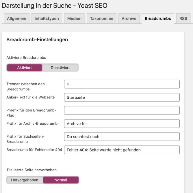 Yoast SEO Breadcrumb Einstellungen WordPress